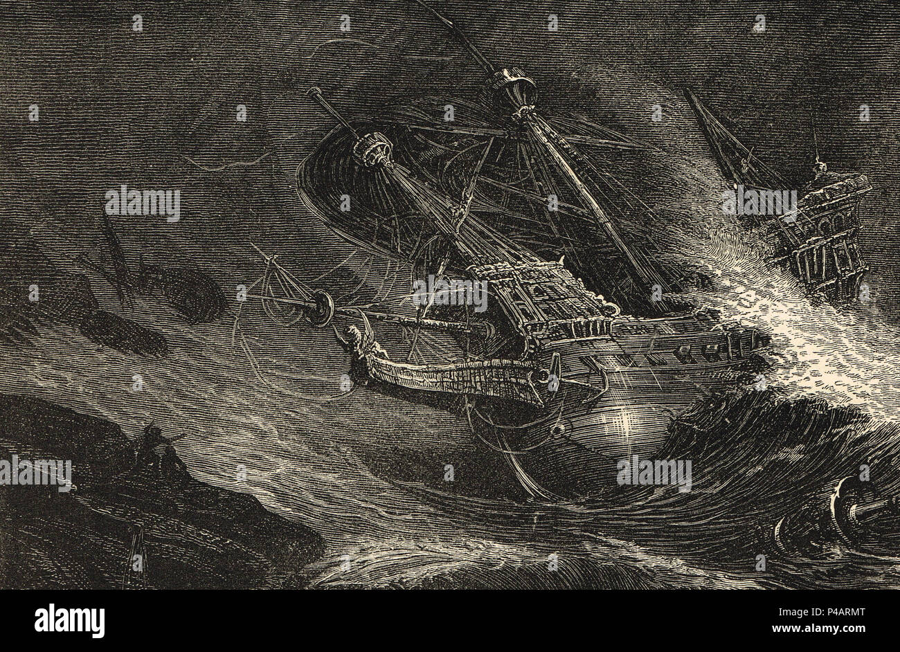 Wreck of an Armada ship, off the coast of Ireland, Defeat of the Spanish Armada, 1588 - Stock Image