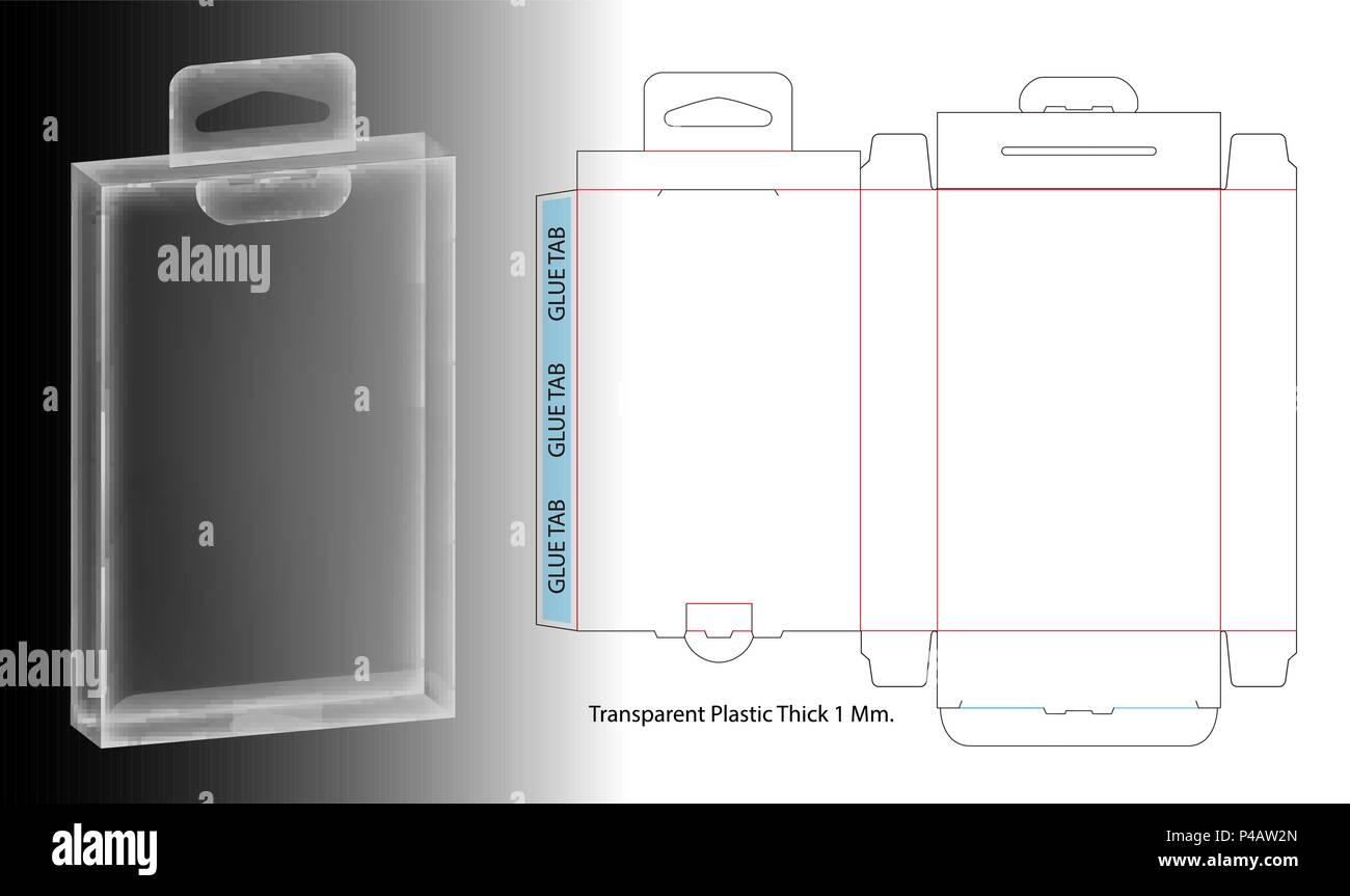 Hanging Plastic Box 3d Mockup With Dieline Stock Vector Art
