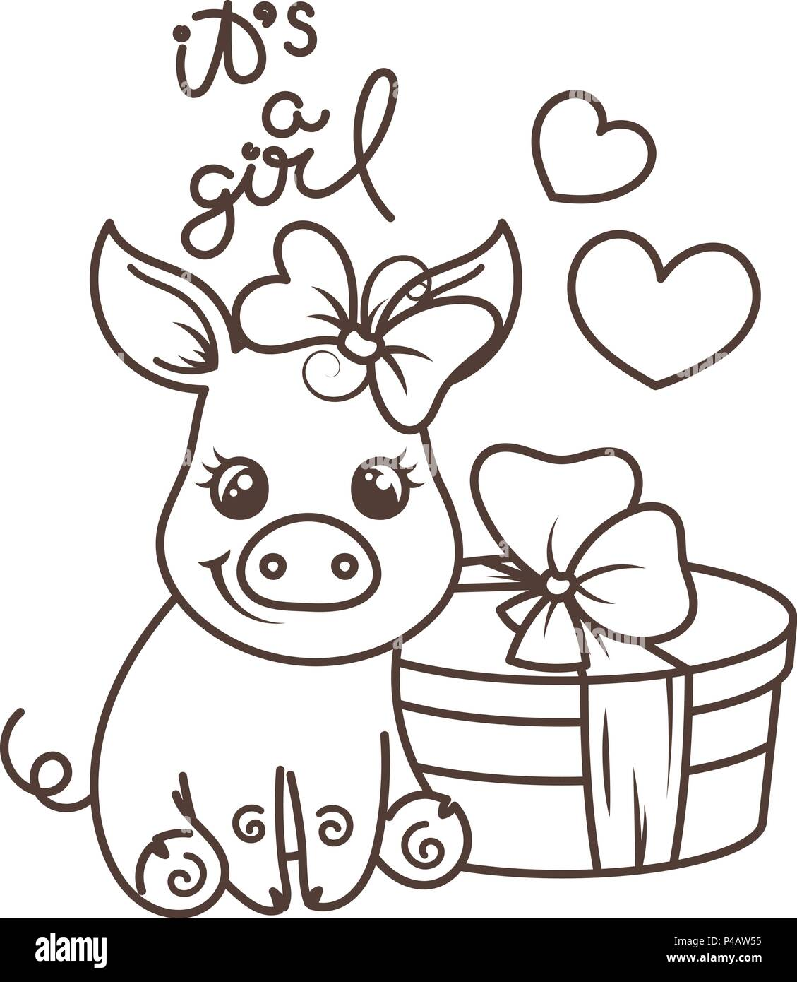 Happy Birthday Cute Cartoon Baby Pig With Holiday Box Vector Illustration Coloring Page Stock Vector Image Art Alamy