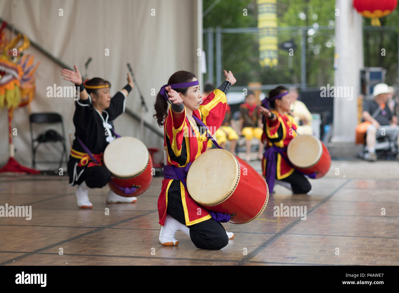 Columbus, Ohio, USA - May 27, 2018 Members of the Ryukyukoku Matsuri Daiko perform okinawan drum dance at the Asian Festival. - Stock Image