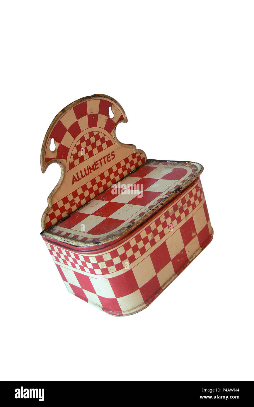 Antiquity. Red and white checkered wall hanger, match box range. Cut off on a white background - Stock Image