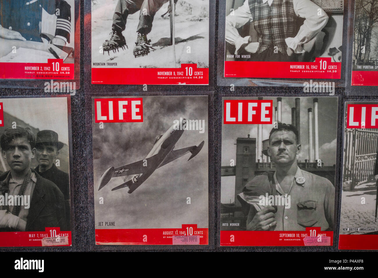 USA, New Jersey, Rio Grande, Naval Air Station Wildwood Aviation Museum, 1940s-era covers of Life Magazine - Stock Image
