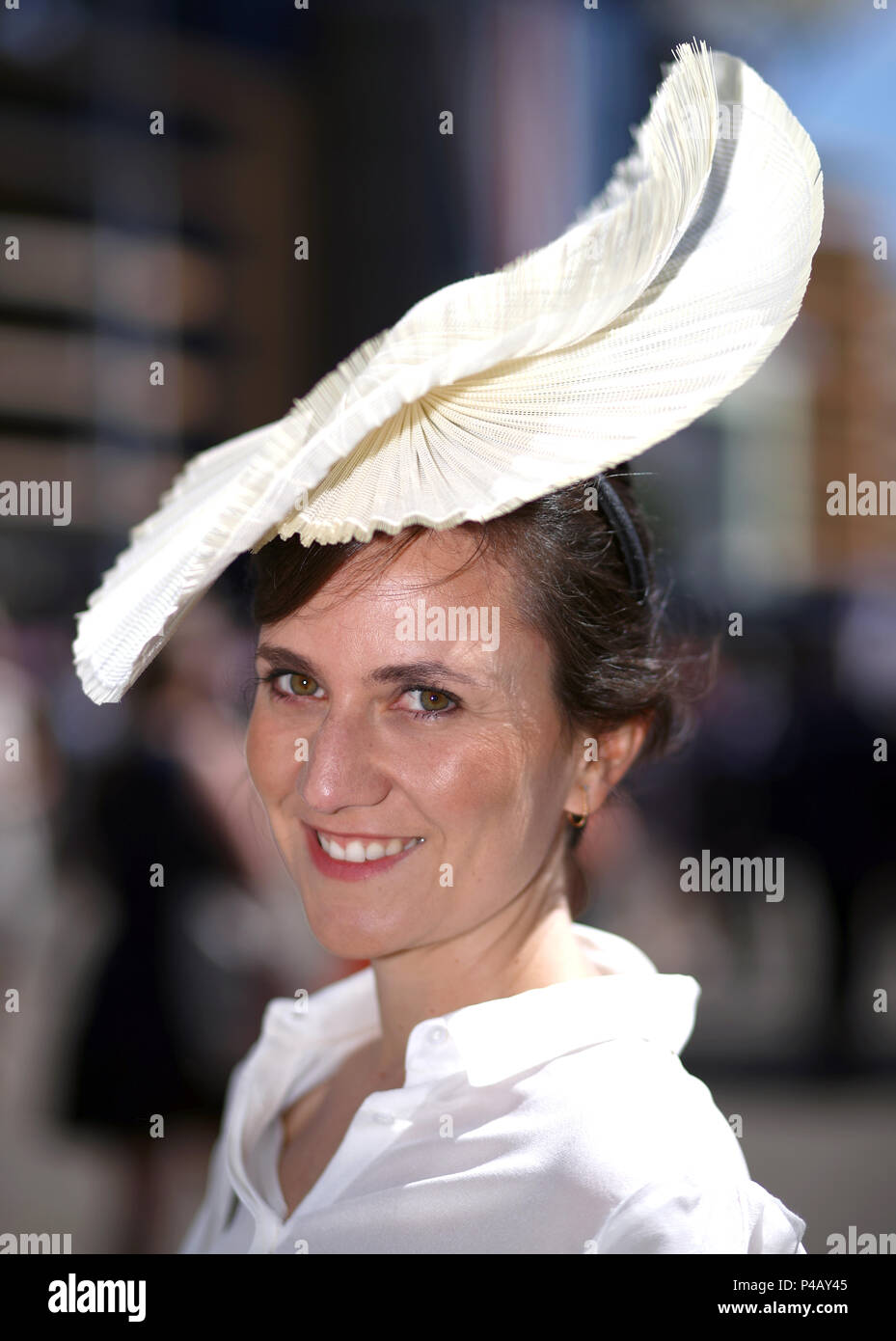 Ana Acero from Spain wearing a Milliner Conchita hat during day three of Royal  Ascot at 8ad059124e9