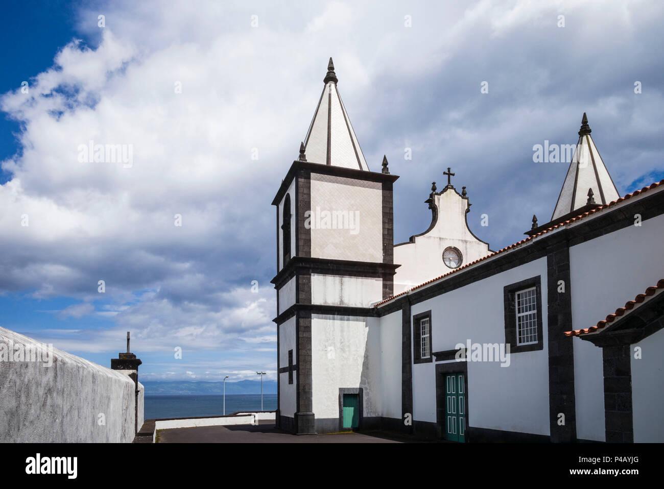 Portugal, Azores, Pico Island, Prainha, town church - Stock Image