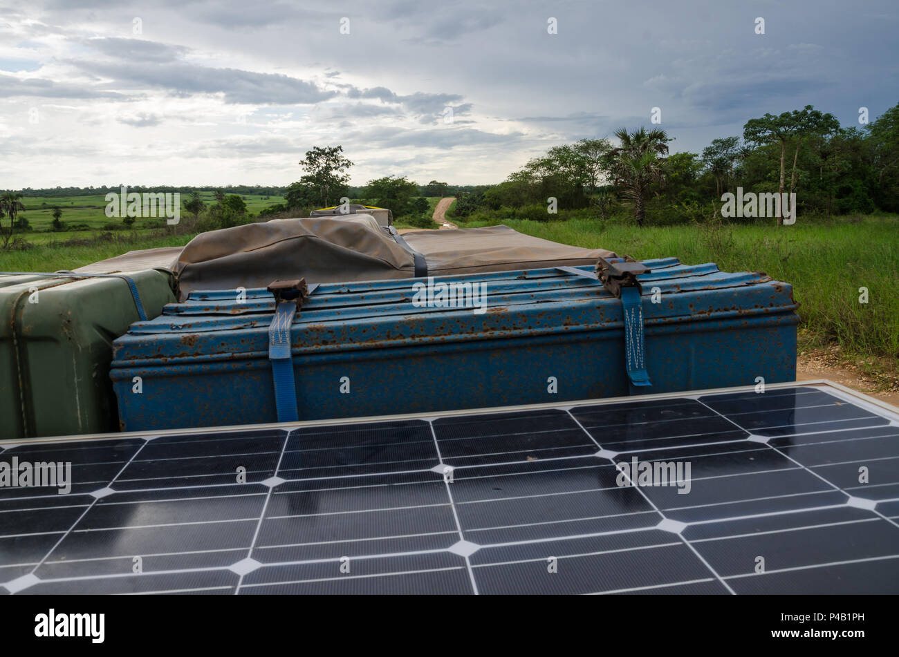 Roof of 4x4 offroad vehicle with jerry can, solar panel