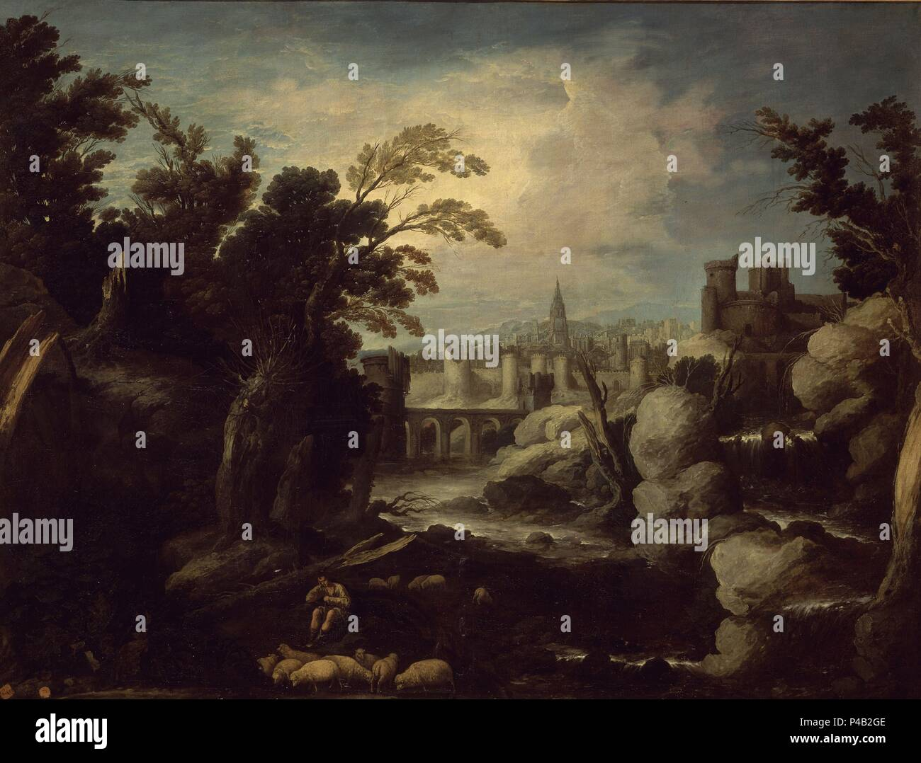 PAISAJE CON UNA CIUDAD - 1634 - O/L - 183x242, NºINV 619, PINTURA BARROCA. Author: Francisco Collantes (1599-1656). Location: ACADEMIA DE SAN FERNANDO-PINTURA, MADRID, SPAIN. - Stock Image