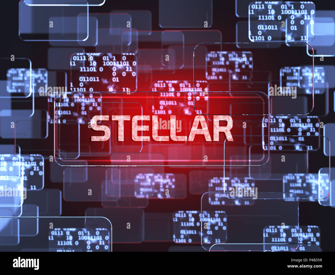 Future technology block chain cryptocurrency Stellar red
