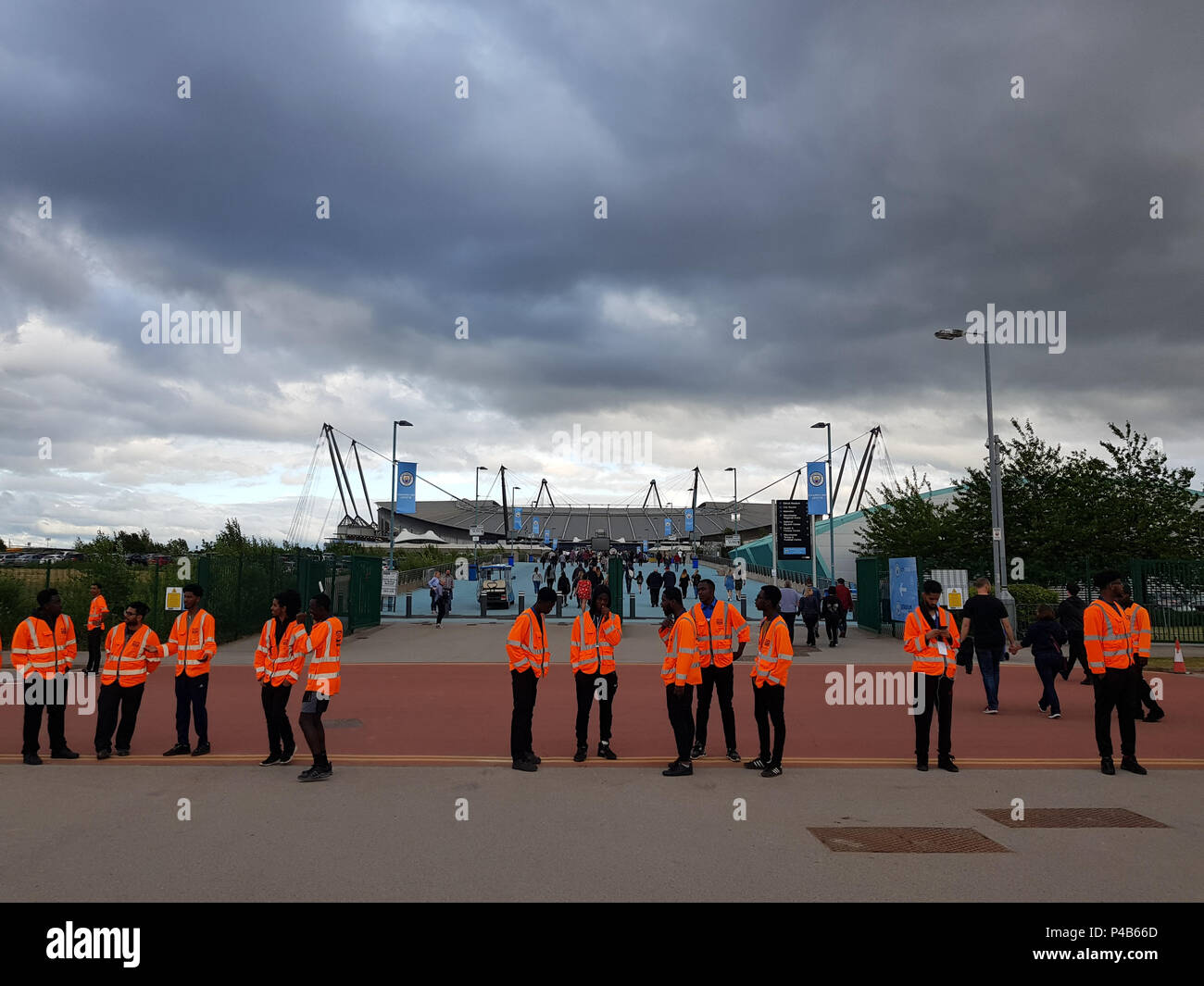 Manchester, England, UK, June 19, 2018: Security people for the Foo Fighters Concert in the Etihad Stadium. - Stock Image