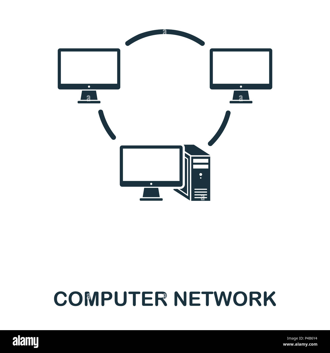 Computer Network icon. Line style icon design. UI. Illustration of computer network icon. Pictogram isolated on white. Ready to use in web design, apps, software, print. - Stock Image