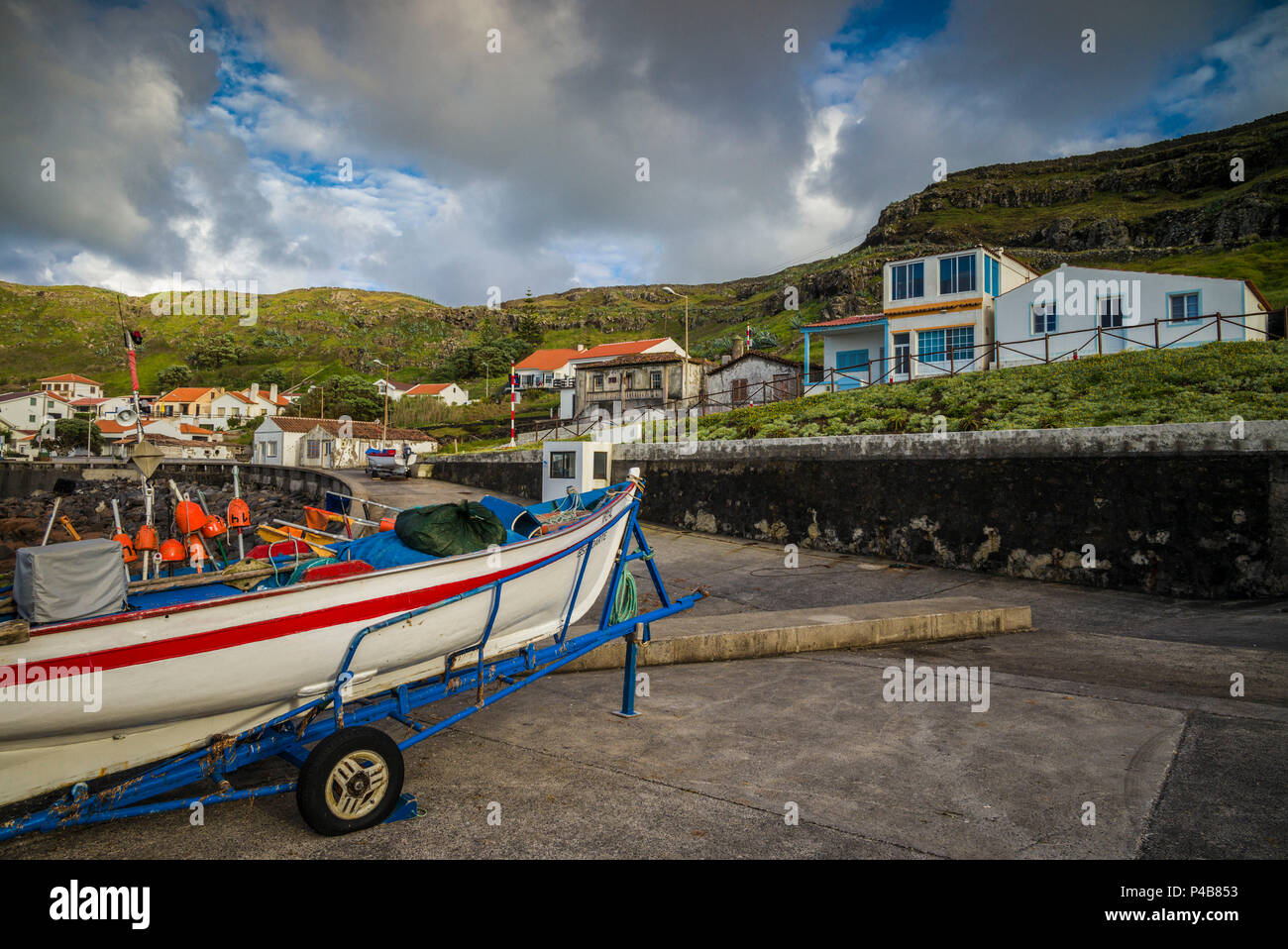 Portugal, Azores, Santa Maria Island, Anjos, place where Christopher Columbus made landfall after discovering the New World, boat harbor - Stock Image