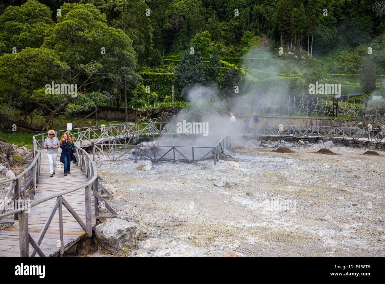Portugal, Azores, Sao Miguel Island, Furnas, Lago das Furnas lake, lakeside caldeiras, volcanic activity - Stock Image