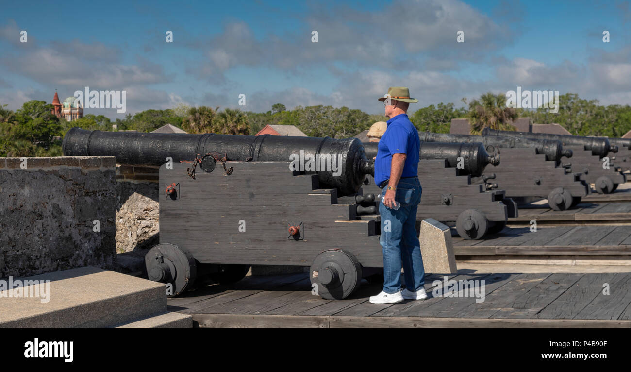 St. Augustine, Florida - Castillo de San Marcos National Monument. The Spanish built the fort in the late 17th century. It was later occupied by Briti Stock Photo