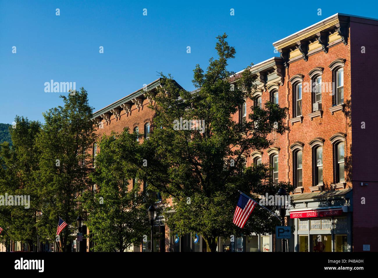 USA, New York, Hudson Valley Region, Beacon, downtown buidings - Stock Image
