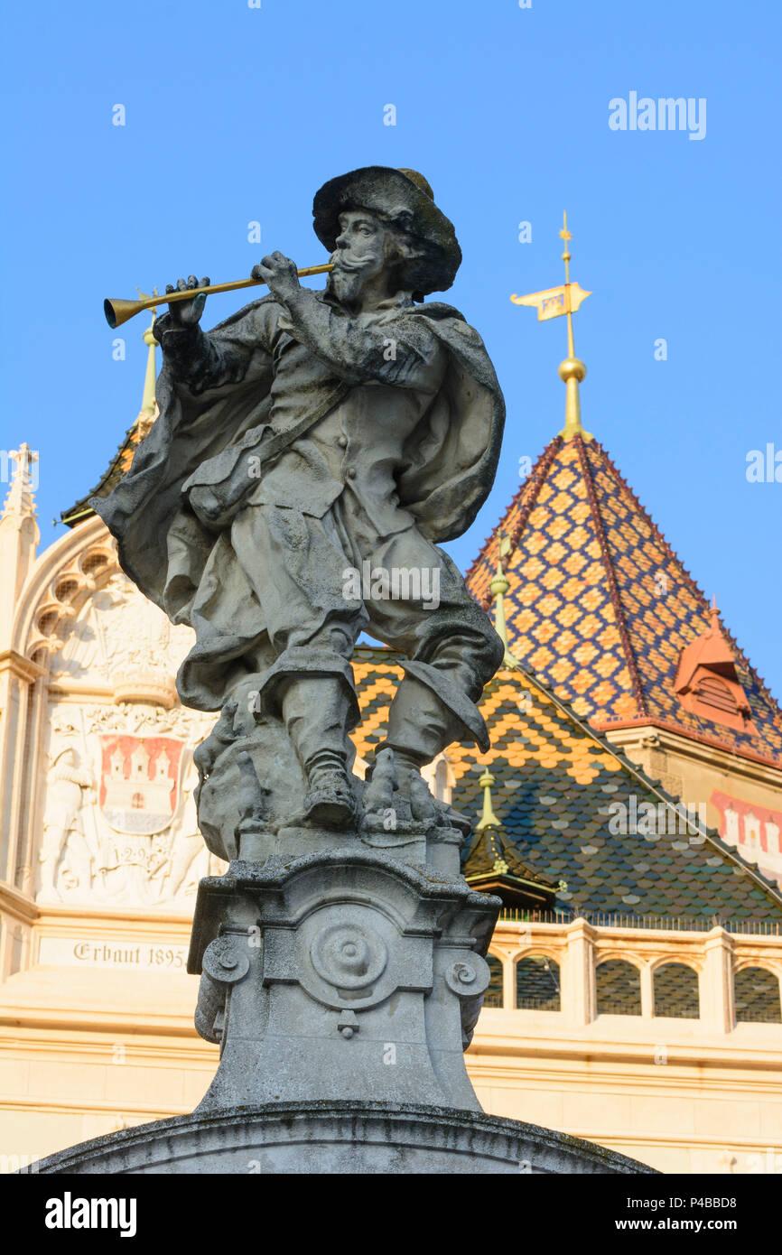 Korneuburg, rat catcher fountain, Town Hall, City Tower, Hauptplatz (Main Square), Donau, Lower Austria, Austria - Stock Image