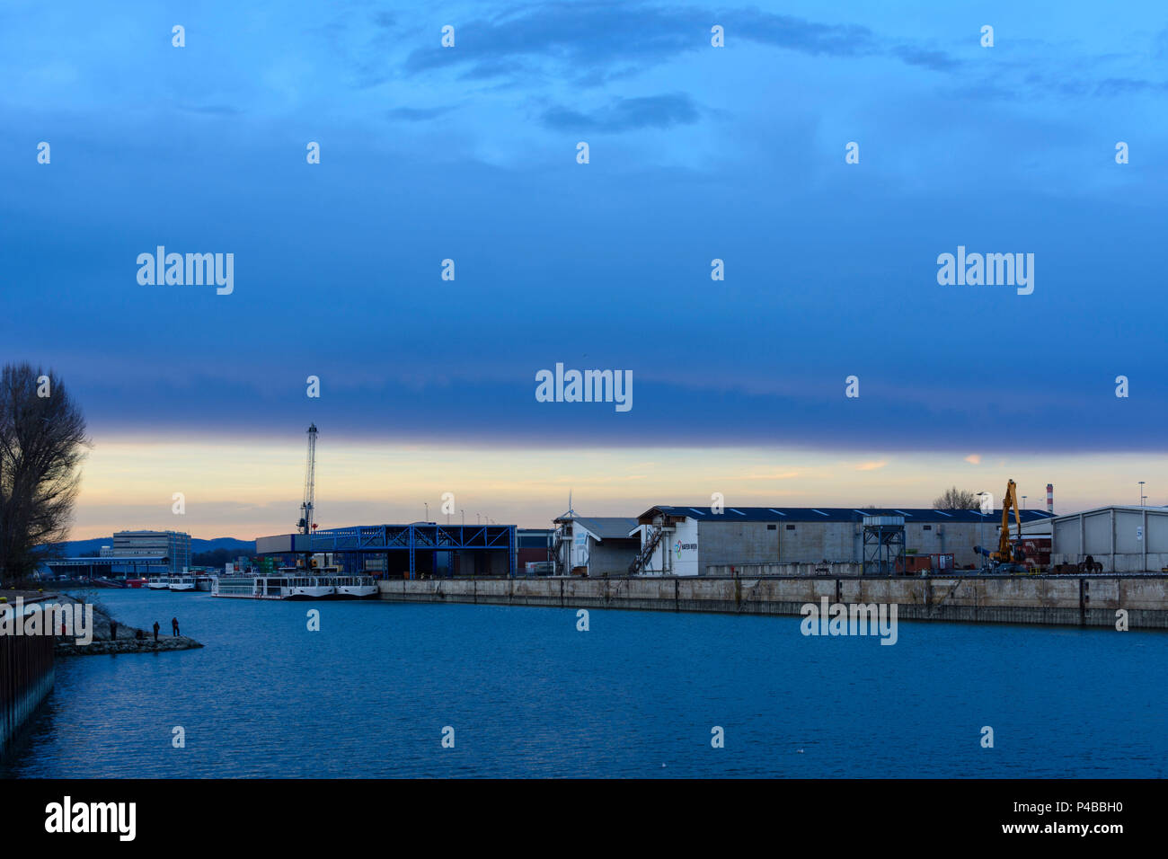Vienna, port of Vienna, cruise ships anchored in winter off season, 02. Leopoldstadt, Wien, Austria - Stock Image