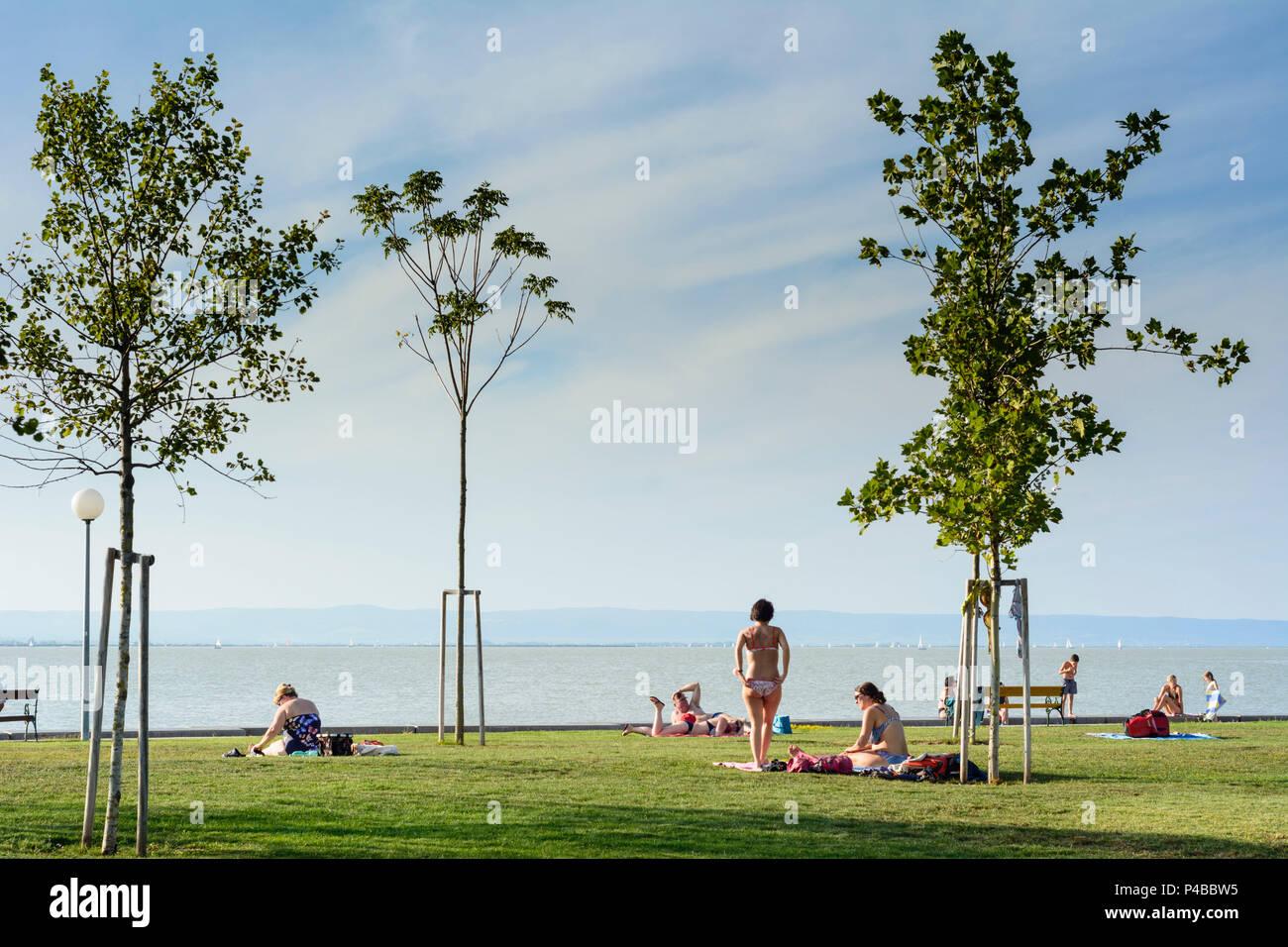 Illmitz, public bathing beach lido, Lake Neusiedl (Neusiedler See), sunbather, national park Neusiedler See-Seewinkel, Burgenland, Austria - Stock Image