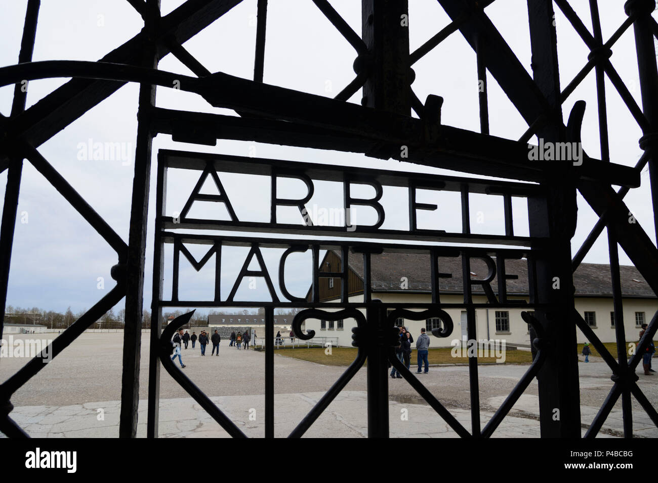 Dachau, concentration camp, main camp gate, sign slogan 'Arbeit macht frei' ('Work will make you free.'), Upper Bavaria, Bavaria, Germany - Stock Image