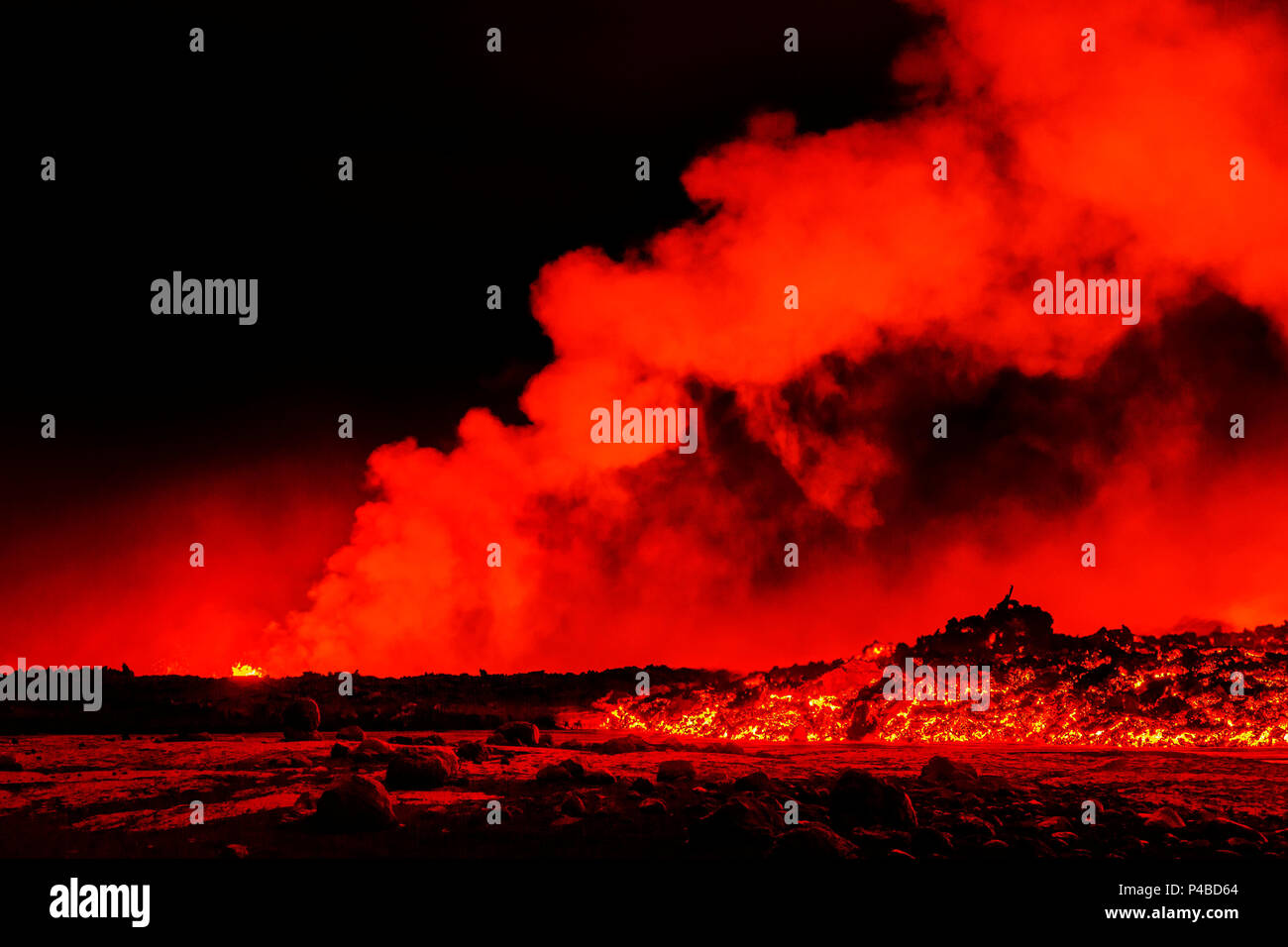 Volcano eruption at the Holuhraun Fissure near Bardarbunga Volcano, Iceland August 29, 2014, a fissure eruption started in Holuhraun at the northern end of a magma intrusion that had moved progressively north, from the Bardarbunga volcano.. Bardarbunga is a stratovolcano located under Vatnajokull, Icelands most extensive glacier. Picture Date-Sept 2, 2014 - Stock Image