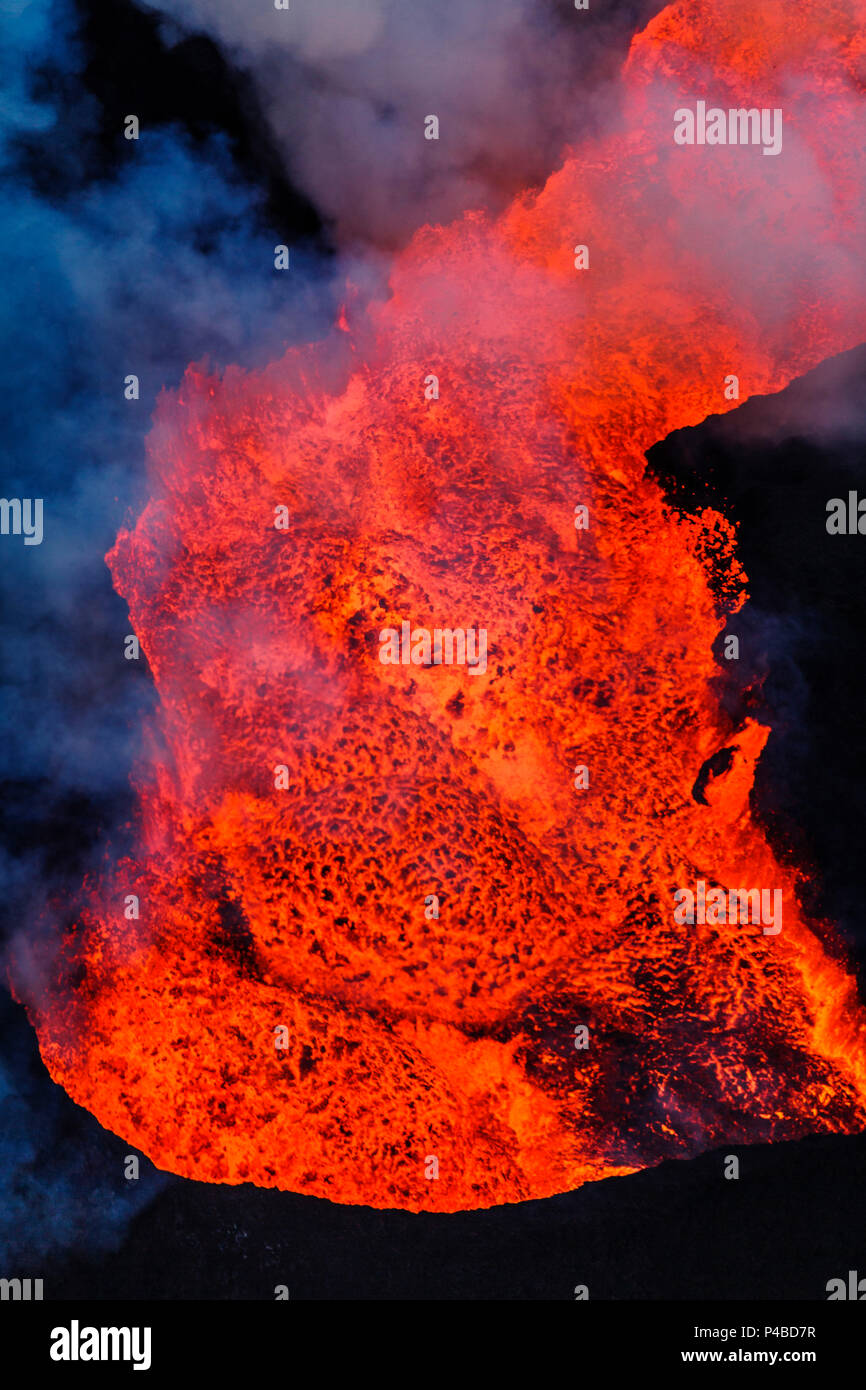 Close-up of lava glowing from the eruption at the Holuhraun Fissure. August 29, 2014 a fissure eruption started in Holuhraun at the northern end of a magma intrusion, which had moved progressively north, from the Bardarbunga volcano. Picture Date: October 30, 2014 Stock Photo