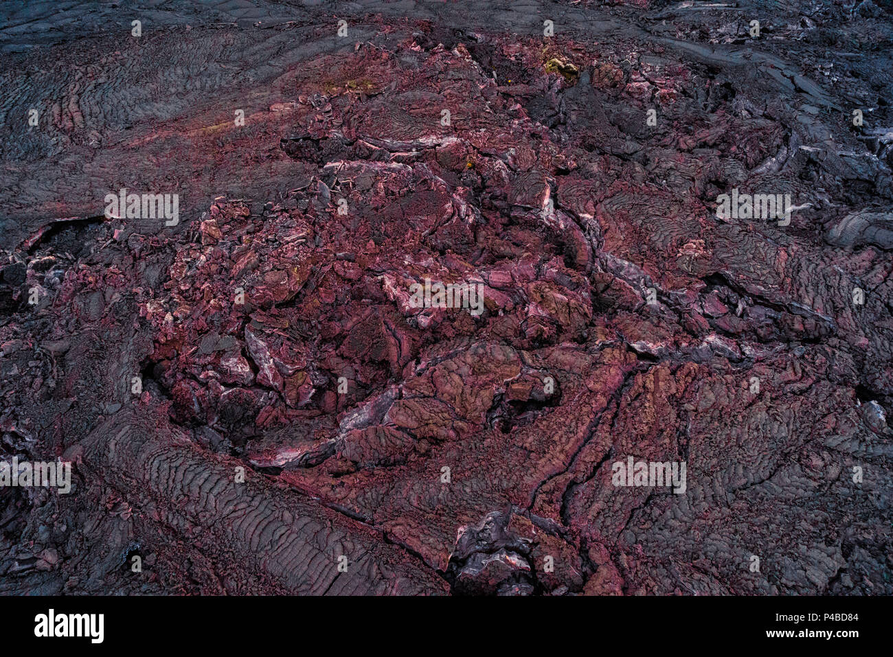 Aerial view of red hot lava. August 29, 2014 a fissure eruption started in Holuhraun at the northern end of a magma intrusion, which had moved progressively north, from the Bardarbunga volcano. Bardarbunga is a stratovolcano located under Vatnajokull, Iceland's most extensive glacier. Picture Date: October 30, 2014 - Stock Image