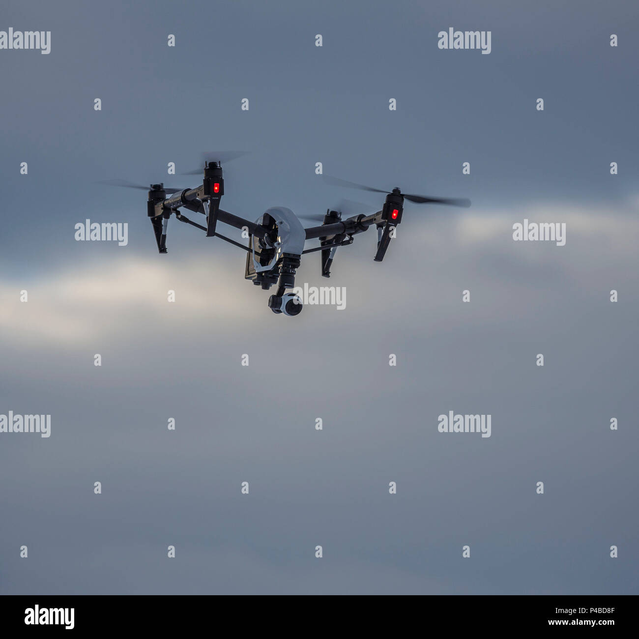 Radio controlled Drone with Camera. Eruption at the Holuhraun Fissure, Bardarbunga Volcano, Iceland Stock Photo