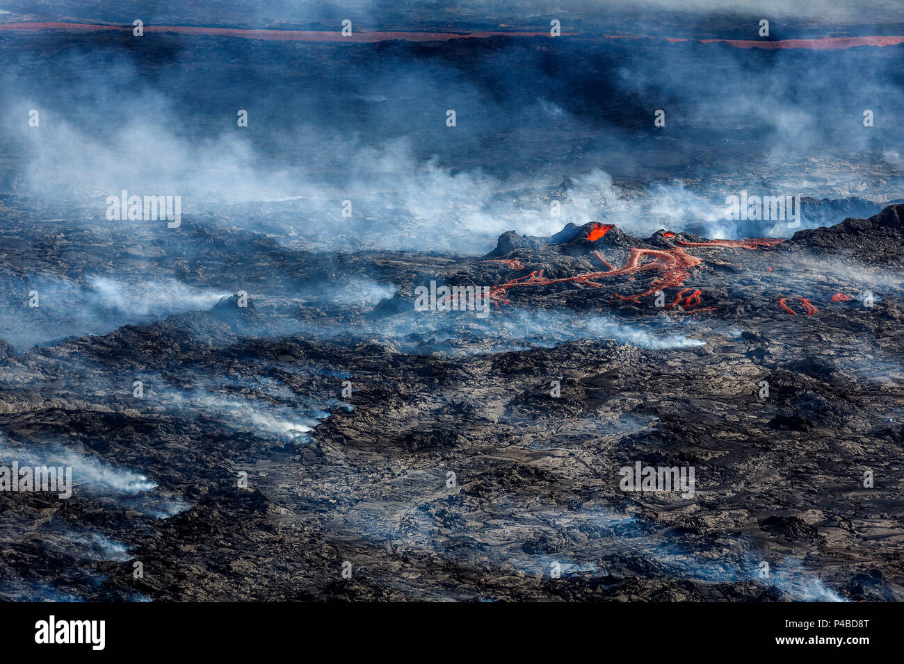 Volcano Eruption at the Holuhraun Fissure near Bardarbunga Volcano, Iceland. August 29, 2014 a fissure eruption started in Holuhraun at the northern end of a magma intrusion, which had moved progressively north, from the Bardarbunga volcano. Bardarbunga is a stratovolcano located under Vatnajokull, Iceland's most extensive glacier. Picture Date-Sept. 3, 2014 - Stock Image