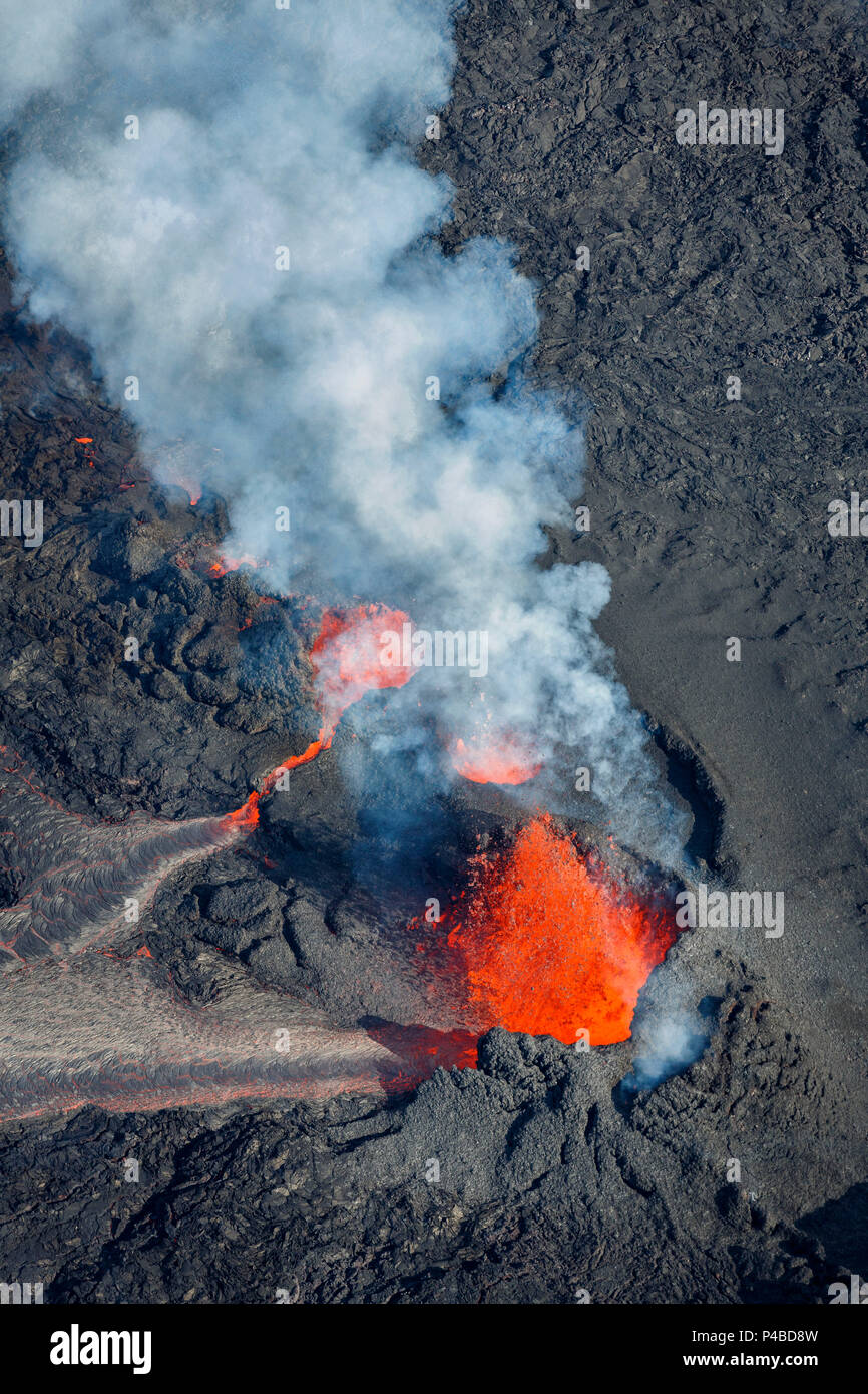 Volcano eruption at the Holuhraun Fissure near the Bardarbunga Volcano, Iceland. August 29, 2014, a fissure eruption started in Holuhraun at the northern end of a magma intrusion which had moved progressively north, from the Bardarbunga volcano. Picture date Sept 3, 2014. the Stock Photo