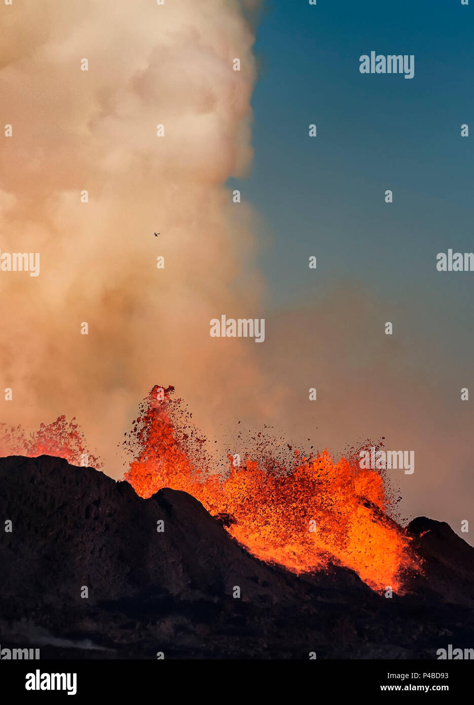 Lava glowing from the eruption at the Holuhraun Fissure. August 29, 2014 a fissure eruption started in Holuhraun at the northern end of a magma intrusion, which had moved progressively north, from the Bardarbunga volcano. Picture Date: Sept 20, 2014 Stock Photo