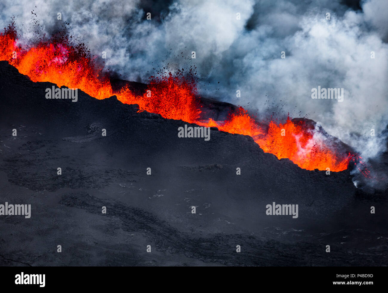 Volcano Eruption at the Holuhraun Fissure near Bardarbunga Volcano, Iceland. August 29, 2014 a fissure eruption started in Holuhraun at the northern end of a magma intrusion, which had moved progressively north, from the Bardarbunga volcano. Picture Date-Sept. 1, 2014 - Stock Image