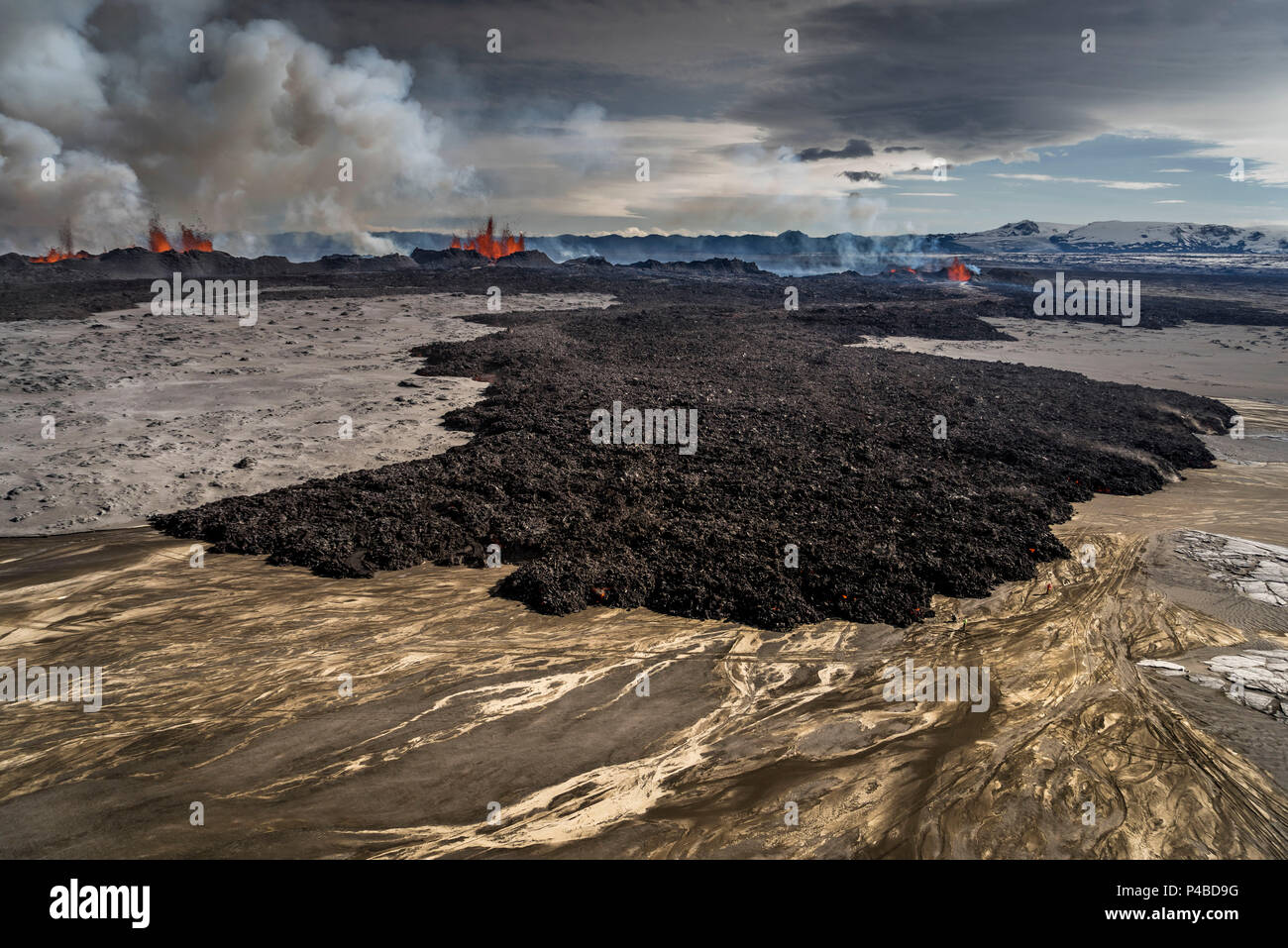 Lava and plumes from the Holuhraun Fissure by the Bardarbunga Volcano, Iceland. August 29, 2014, a fissure eruption started in Holuhraun at the northern end of a magma intrusion which had moved progressively north, from the Bardarbunga volcano. Picture date Sept 3, 2014. - Stock Image