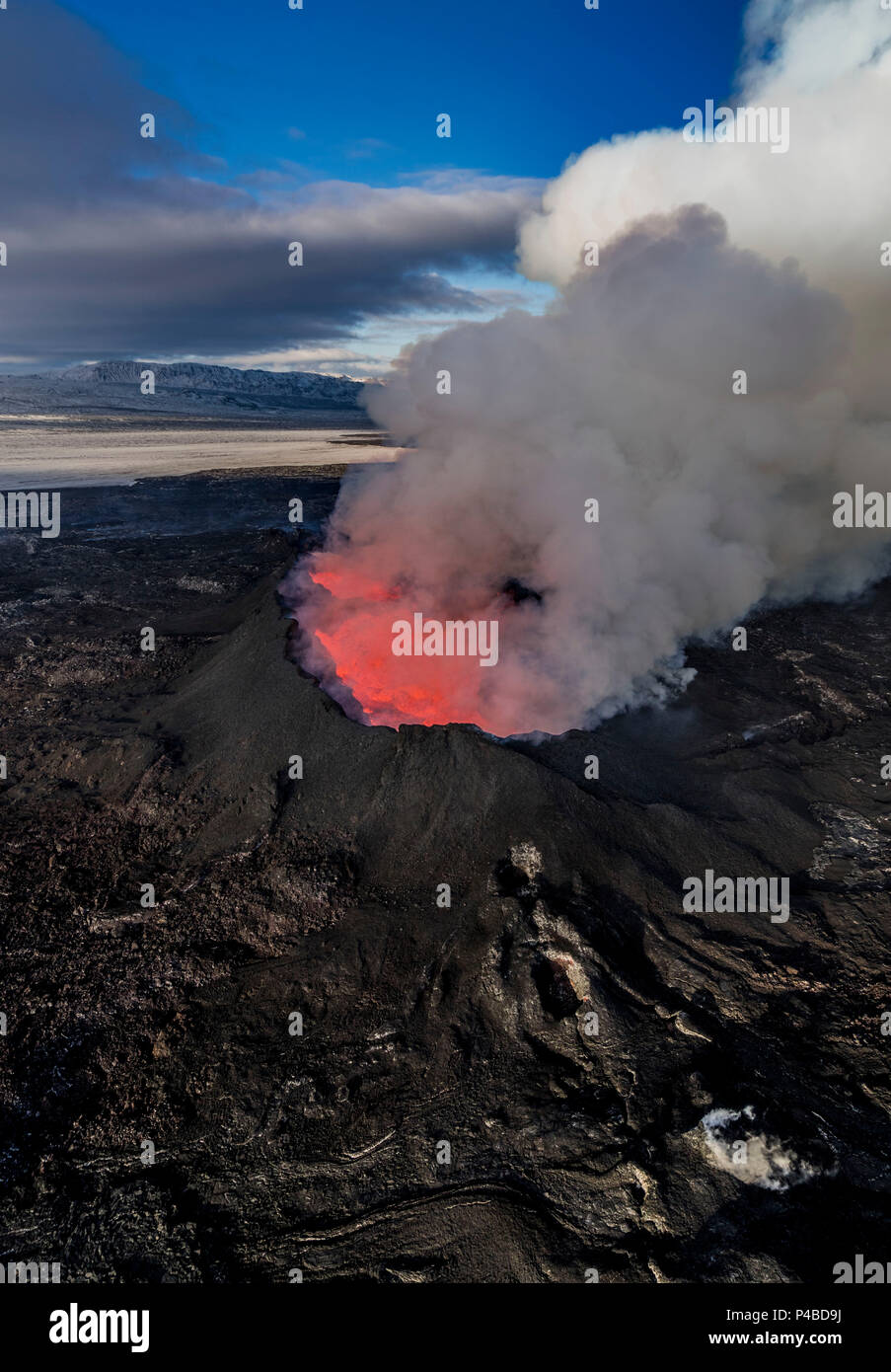August 29, 2014, a fissure eruption occurred in Holuhraun at the northern end of a magma intrusion which had moved progressively north, from the Bardarbunga volcano. Bardarbunga is a stratovolcano located under Vatnajokull, Iceland's most extensive glacier. Picture Date-Sept. 28, 2014 - Stock Image