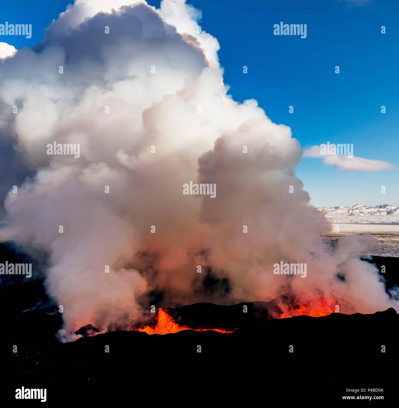 August 29, 2014, a fissure eruption occurred in Holuhraun at the northern end of a magma intrusion which had moved progressively north, from the Bardarbunga volcano. Bardarbunga is a stratovolcano located under Vatnajokull, Iceland's most extensive glacier. Picture Date-Sept. 28, 2014 Stock Photo