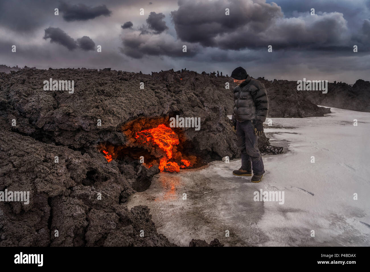 Glowing Lava flow, Holuhraun Fissure Eruption, Bardarbunga Volcano, Iceland - Stock Image