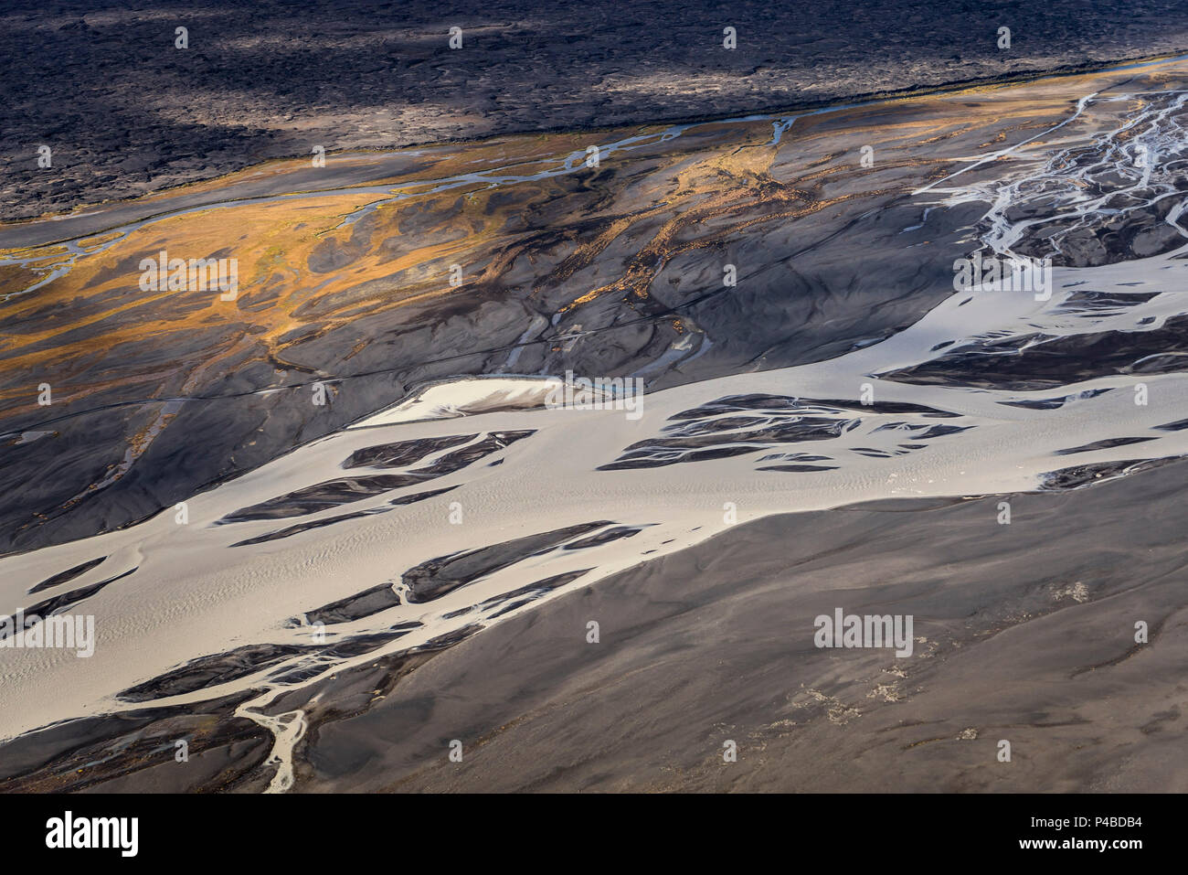 Aerial view- Jokulsa a Fjollum a glacier river, Krepputunga, North of Vatnajokull, Iceland Sands and lava close to the eruption site at Holuhran. On August 29, 2014 a fissure eruption started in Holuhraun at the northern end of a magma intrusion, which had moved progressively north, from the Bardarbunga volcano. Picture Date-Sept. 3, 2014 - Stock Image