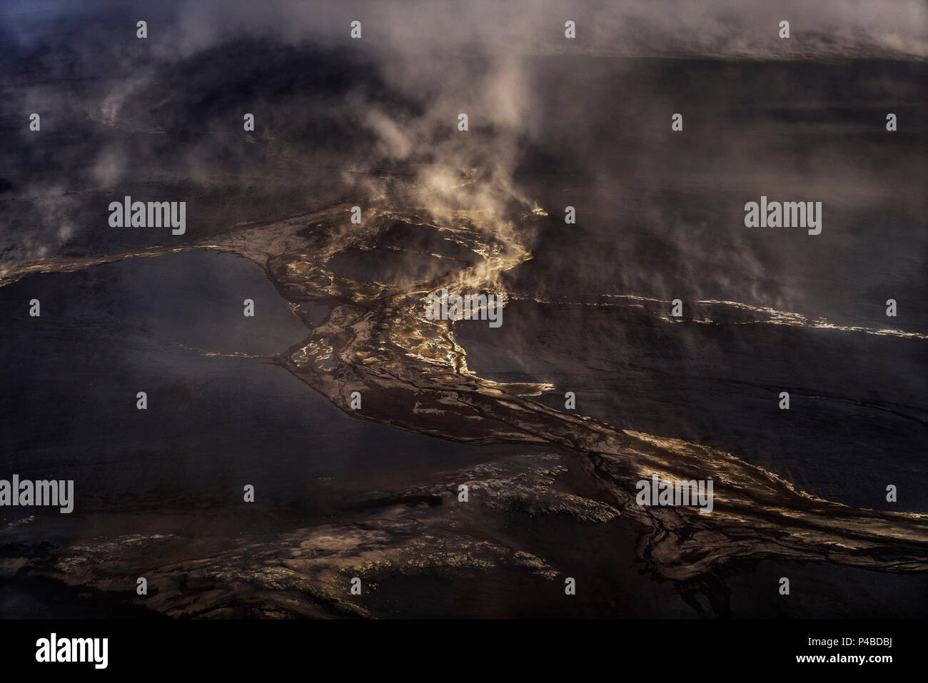 Dust storm in the highlands close to Holuhraun. August 29, 2014 a fissure eruption started in Holuhraun at the northern end of a magma intrusion, which had moved progressively north, from the Bardarbunga volcano. Bardarbunga is a stratovolcano located under Vatnajokull, Iceland's most extensive glacier. - Stock Image