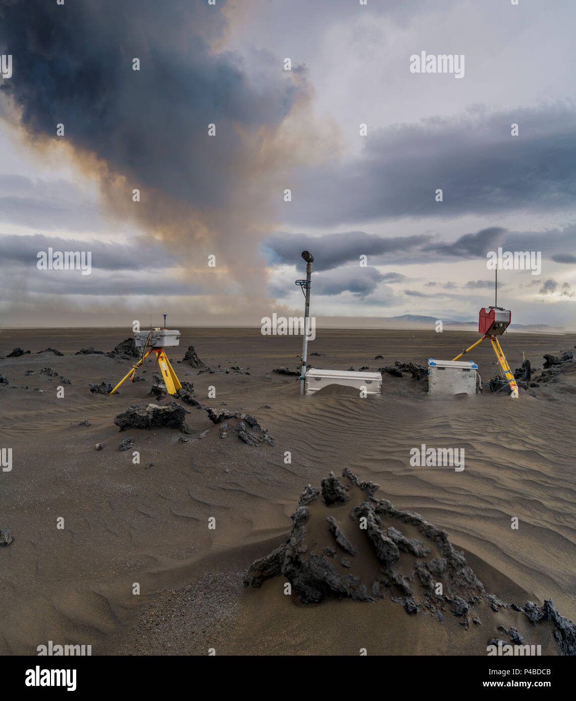 Scientific equipment-Volcanic plumes with toxic gases, Holuhraun Fissure Eruption, Iceland. August 29, 2014 a fissure eruption started in Holuhraun at the northern end of a magma intrusion, which had moved progressively north, from the Bardarbunga volcano. Picture Date-Sept.2, 2014 - Stock Image