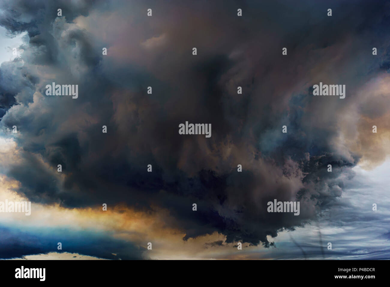 Volcanic Plumes with toxic gases, Holuhraun Fissure Eruption, Iceland. August 29, 2014 a fissure eruption started in Holuhraun at the northern end of a magma intrusion, which had moved progressively north, from the Bardarbunga volcano. Bardarbunga is a stratovolcano located under Vatnajokull, Iceland's most extensive glacier. Picture Date-Sept. 2, 2014 - Stock Image