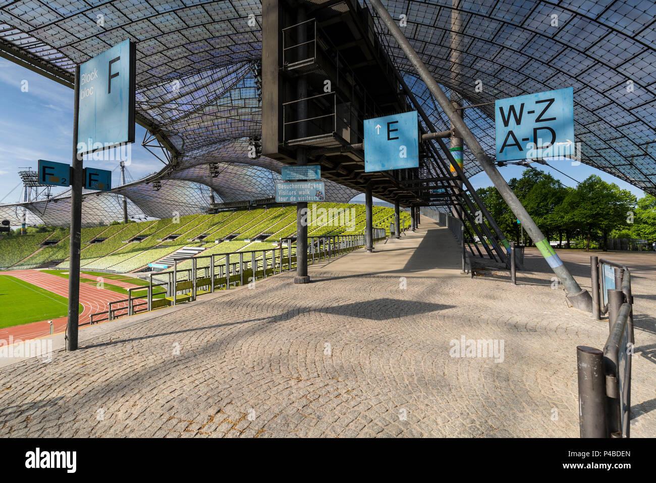 Europe, Germany, Bavaria, Munich, Olympiastadion - Stock Image