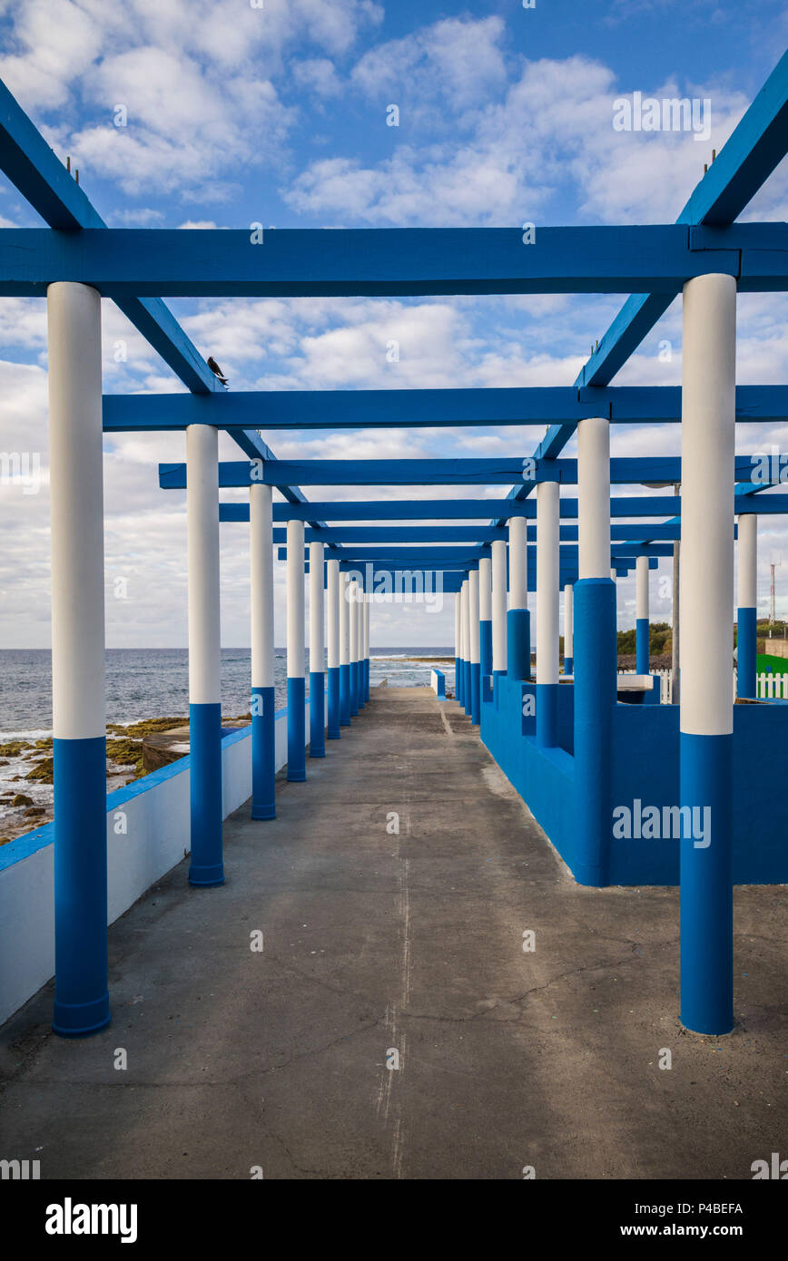 Portugal, Azores, Santa Maria Island, Anjos, place where Christopher Columbus made landfall after discovering the New World, beachside trellis - Stock Image