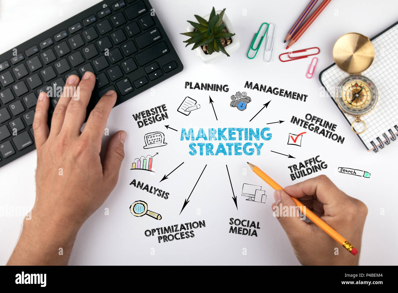 marketing strategy Concept. Chart with keywords and icons - Stock Image