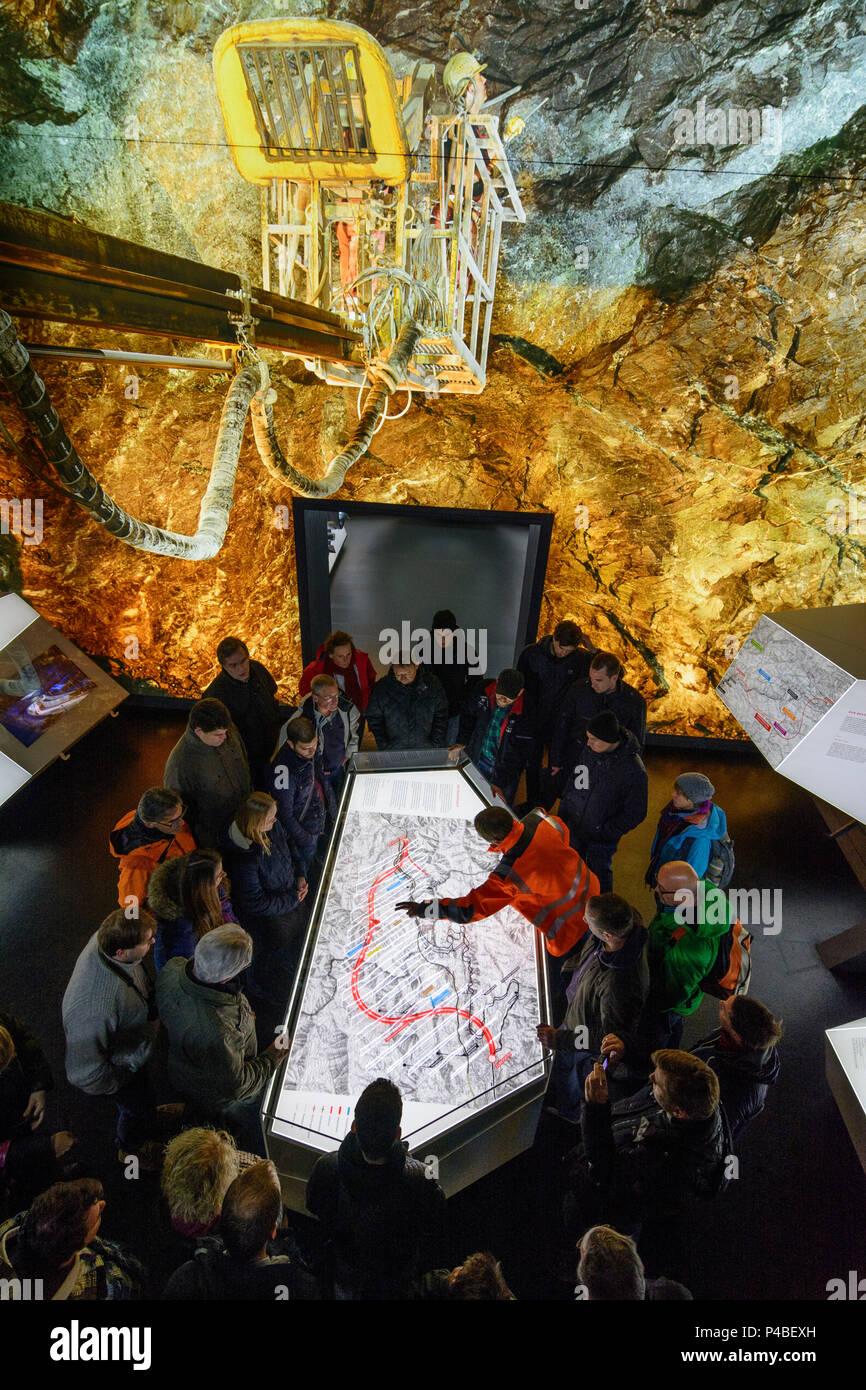Gloggnitz, construction of Semmering Base Tunnel, Infobox Gloggnitz, visitors and lecturer of ÖBB Austrian Railways at map, Wiener Alpen (Vienna Alps), Lower Austria, Austria - Stock Image