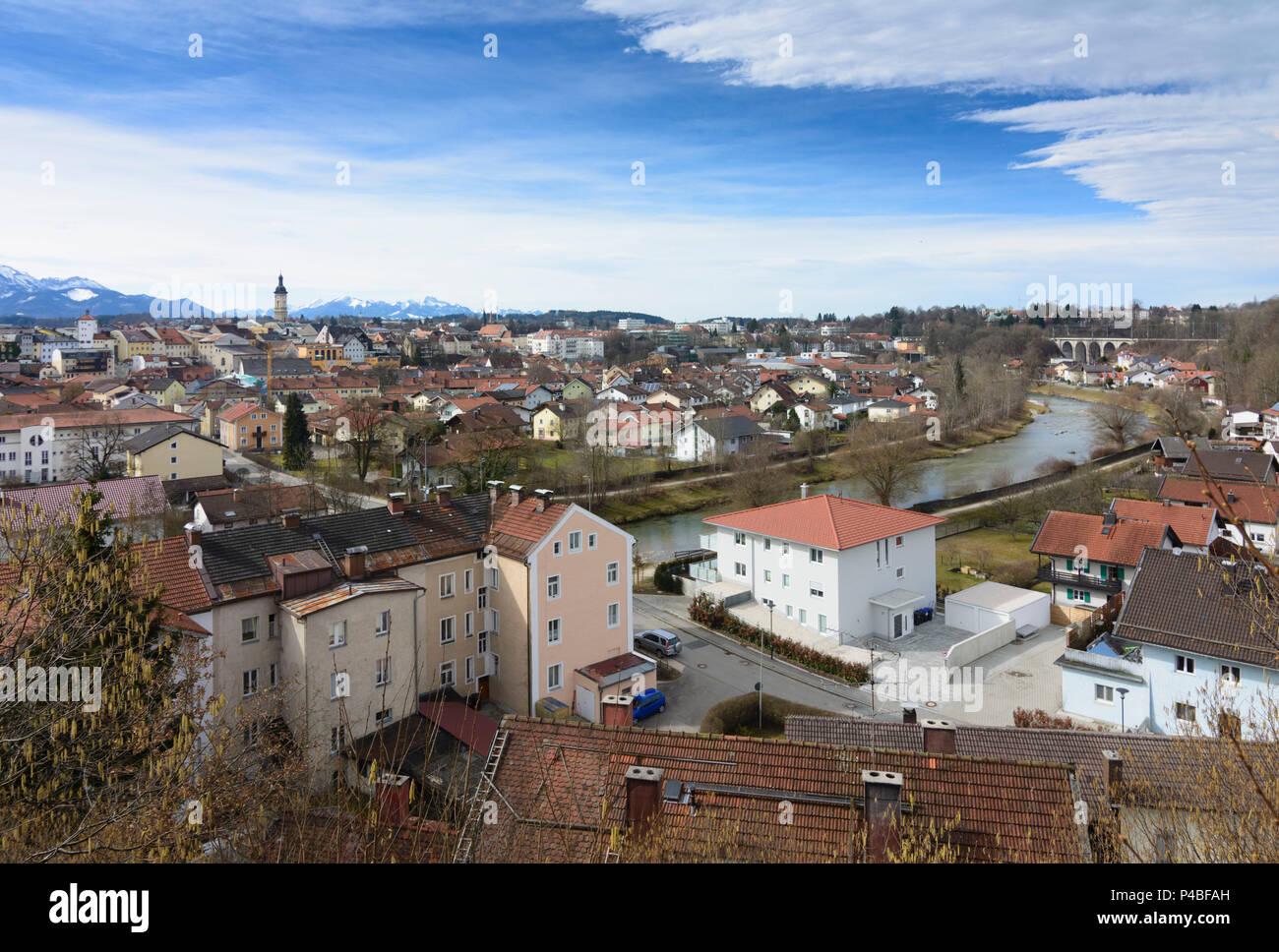 Traunstein, city center of Traunstein, Alps, river Traun, Oberbayern, Rupertiwinkel, Upper Bavaria, Bavaria, Germany - Stock Image