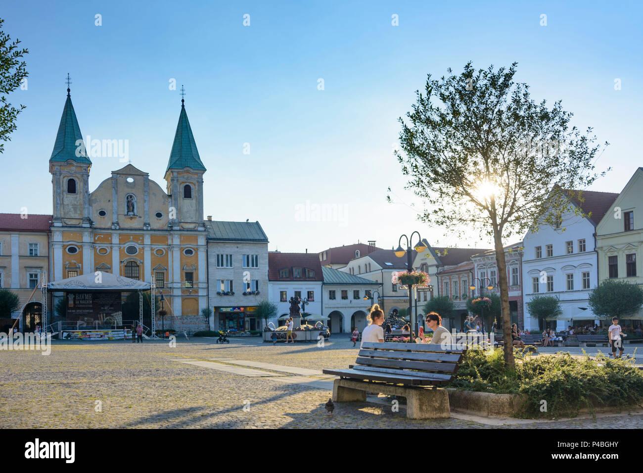 Zilina (Sillein, Silein), main square Marianske namestie, Saint Paul Church, Slovakia - Stock Image