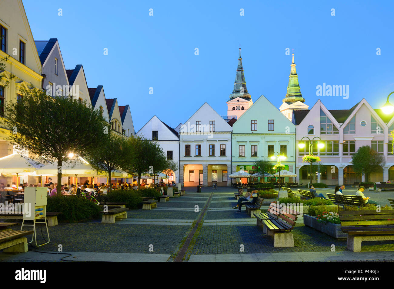 Zilina (Sillein, Silein), main square Marianske namestie with burgher houses, restaurant, Slovakia - Stock Image