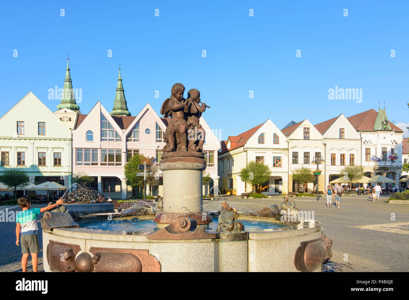 Zilina (Sillein, Silein), main square Marianske namestie with burgher houses, Slovakia - Stock Image