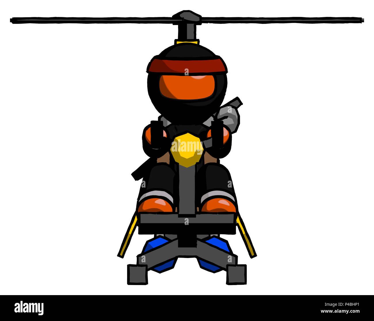 Orange Ninja Warrior Man flying in gyrocopter front view - Stock Image