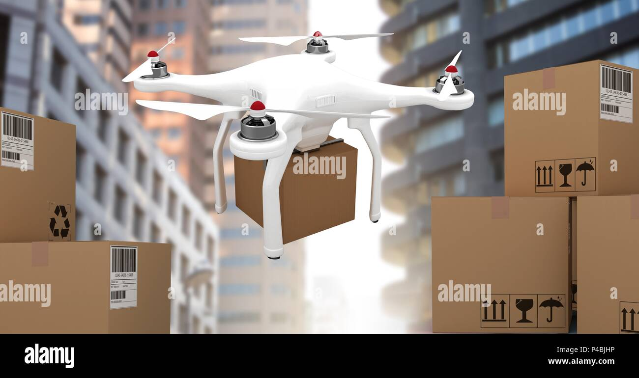 Drone flying by city with delivery parcel boxes - Stock Image