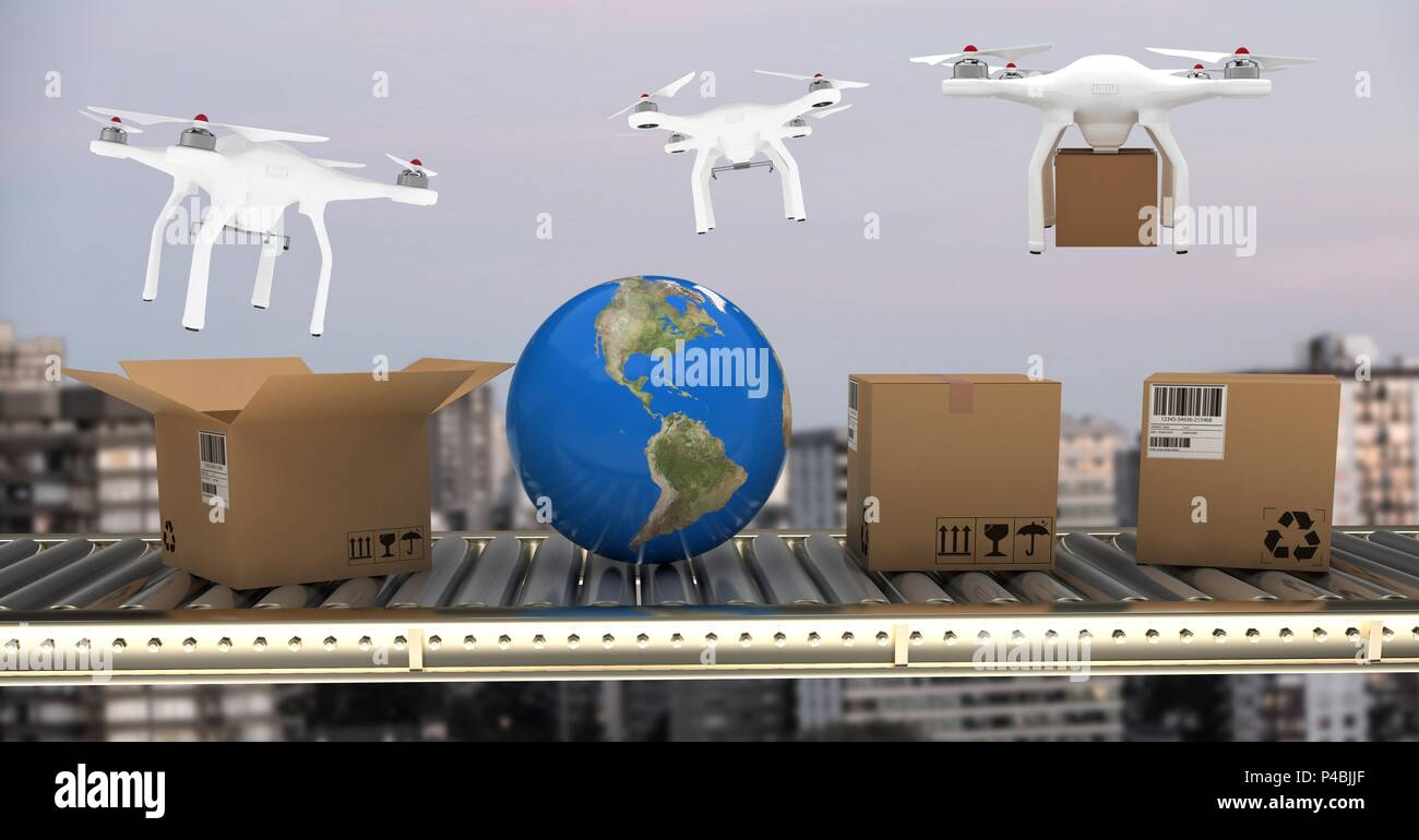 Drones delivering parcel boxes from conveyor belt over city - Stock Image