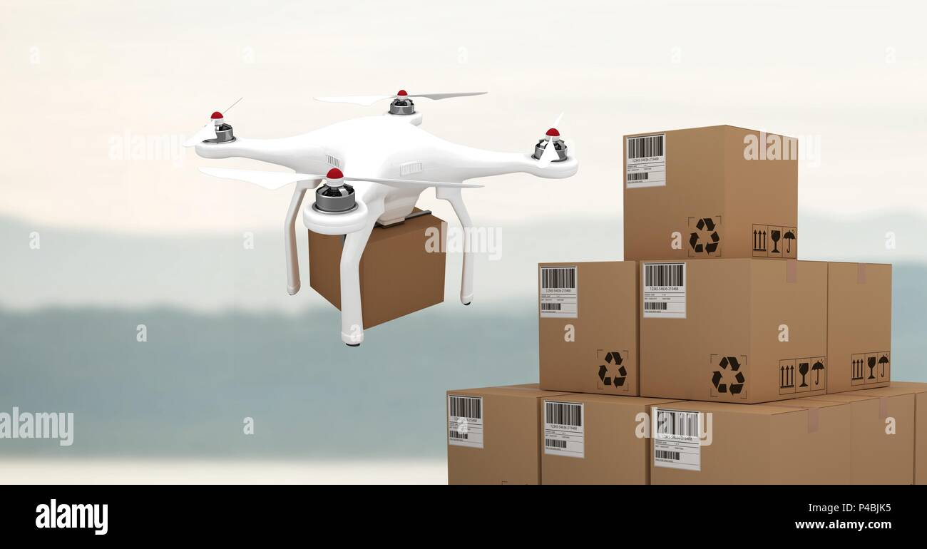 Drone flying by sky with delivery parcel boxes - Stock Image
