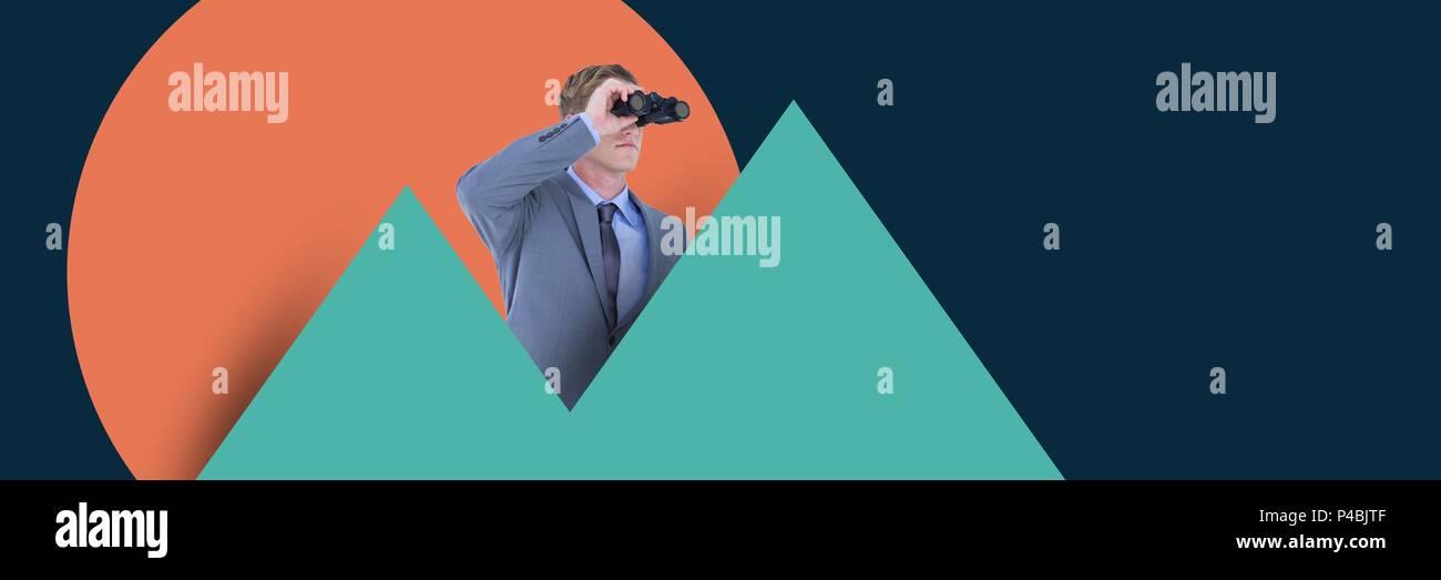Man with binoculars standing in between statistical graphs - Stock Image
